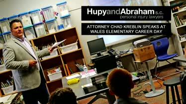 Attorney Chad Kreblin Speaks at Wales Elementary Career Day